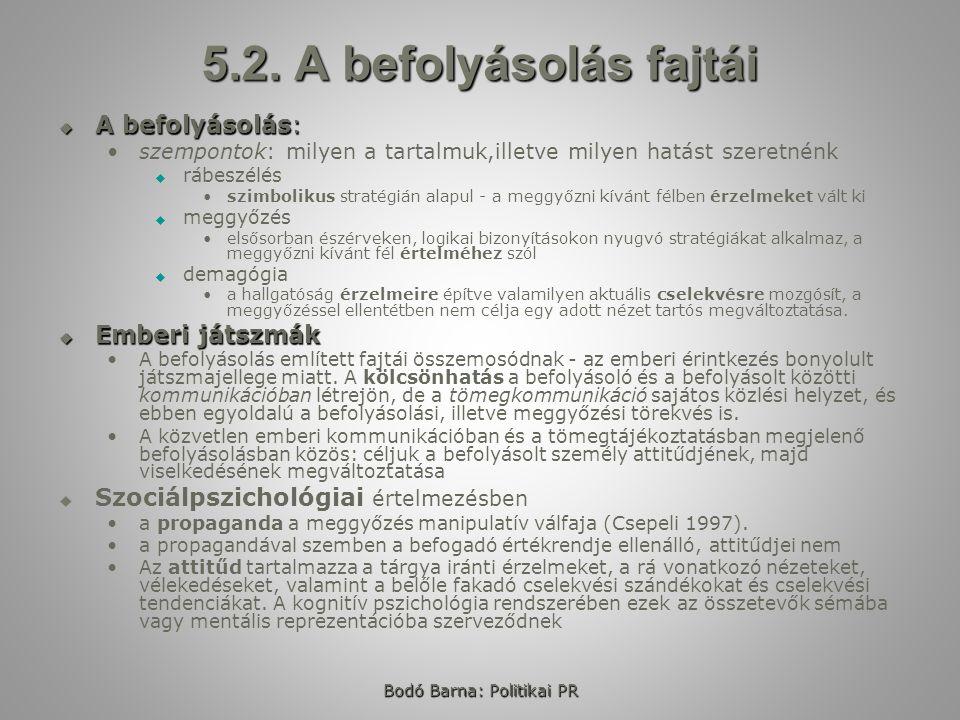 Bodó Barna: Politikai PR 5.2.