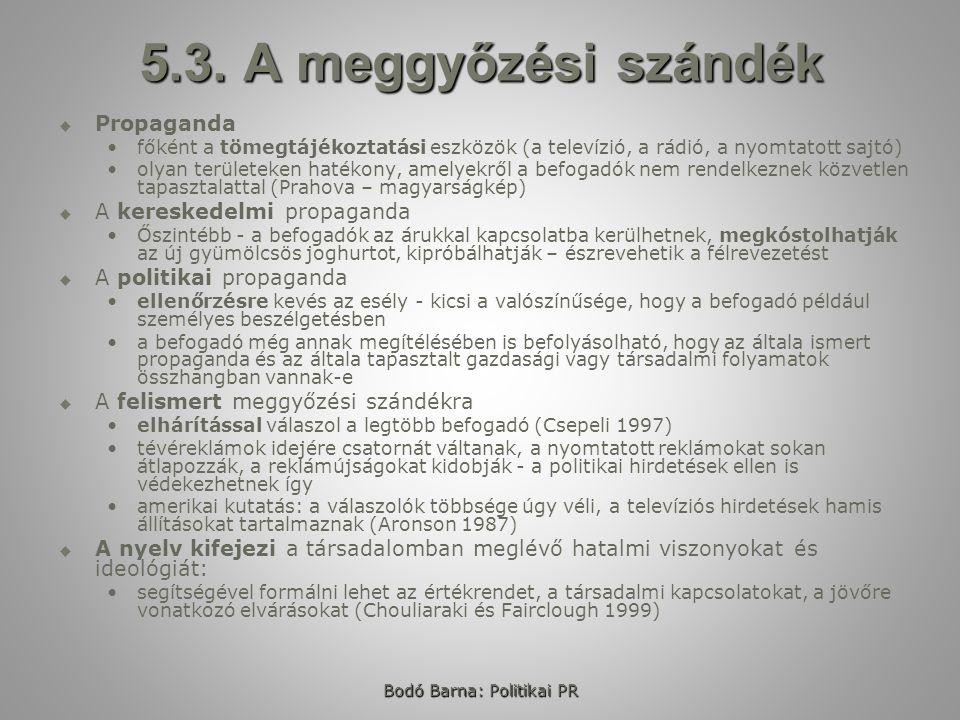 Bodó Barna: Politikai PR 5.3.