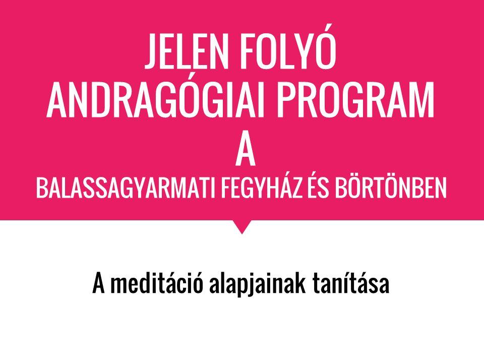 JELEN FOLYÓ ANDRAGÓGIAI PROGRAM A BALASSAGYARMATI FEGYHÁZ ÉS BÖRTÖNBEN A meditáció alapjainak tanítása
