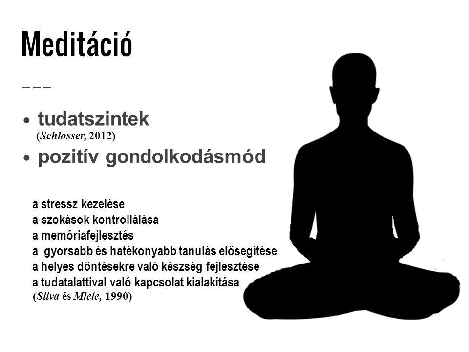 Meditáció tudatszintek pozitív gondolkodásmód a stressz kezelése a szokások kontrollálása a memóriafejlesztés a gyorsabb és hatékonyabb tanulás előseg