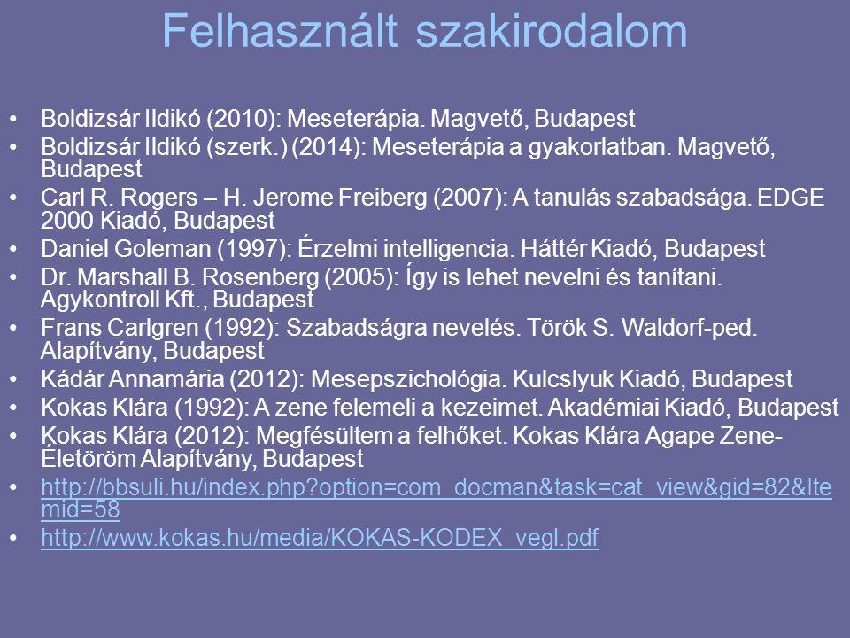 Felhasznált szakirodalom Boldizsár Ildikó (2010): Meseterápia.
