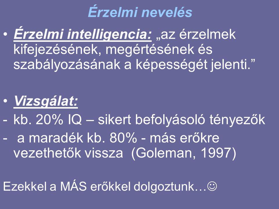 """Érzelmi nevelés Érzelmi intelligencia: """"az érzelmek kifejezésének, megértésének és szabályozásának a képességét jelenti. Vizsgálat: -kb."""