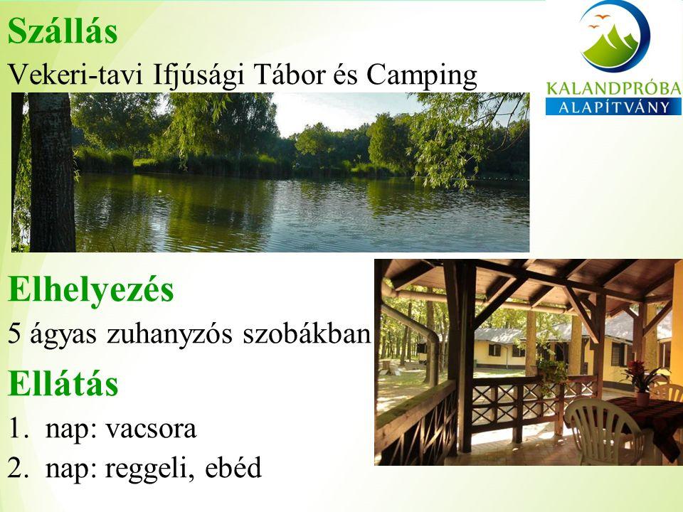 Szállás Vekeri-tavi Ifjúsági Tábor és Camping Elhelyezés 5 ágyas zuhanyzós szobákban Ellátás 1.nap: vacsora 2.nap: reggeli, ebéd