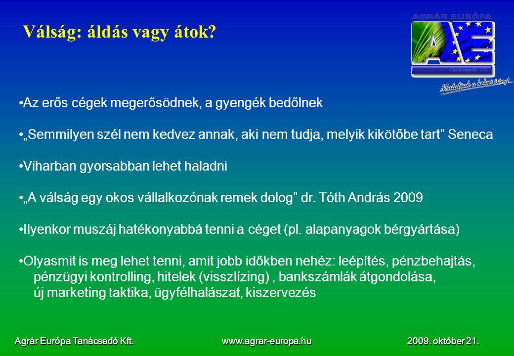 Agrár Európa Tanácsadó Kft.www.agrar-europa.hu 2009.
