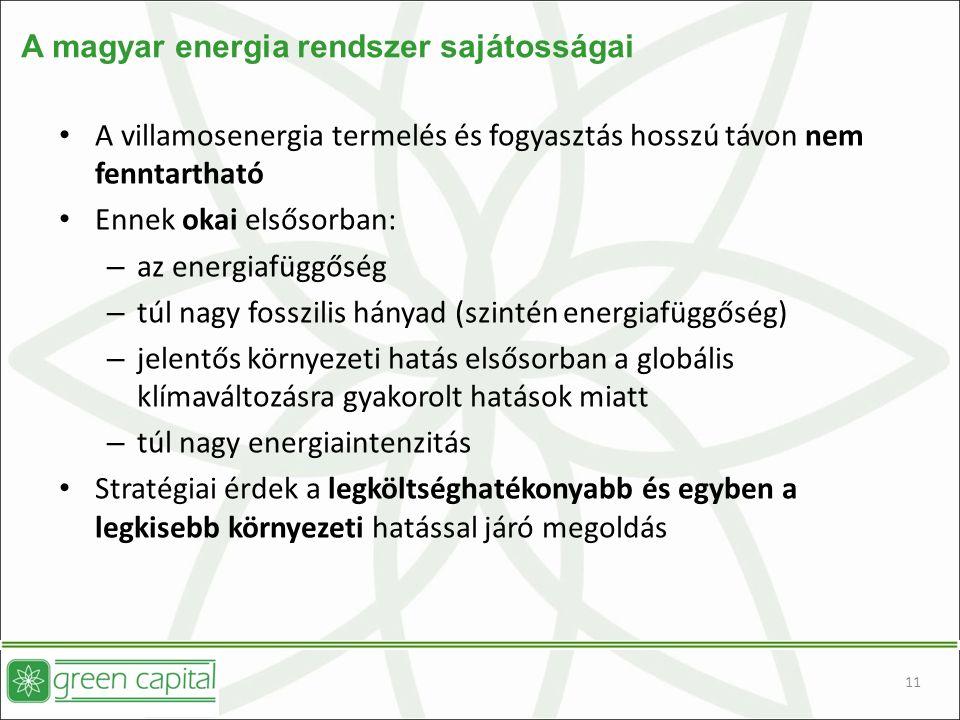 11 A magyar energia rendszer sajátosságai A villamosenergia termelés és fogyasztás hosszú távon nem fenntartható Ennek okai elsősorban: – az energiafüggőség – túl nagy fosszilis hányad (szintén energiafüggőség) – jelentős környezeti hatás elsősorban a globális klímaváltozásra gyakorolt hatások miatt – túl nagy energiaintenzitás Stratégiai érdek a legköltséghatékonyabb és egyben a legkisebb környezeti hatással járó megoldás