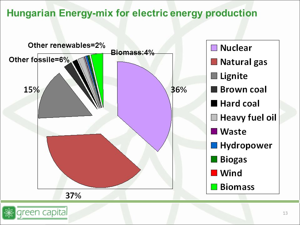 13 Hungarian Energy-mix for electric energy production Other renewables=2% Biomass:4% Other fossile=6%