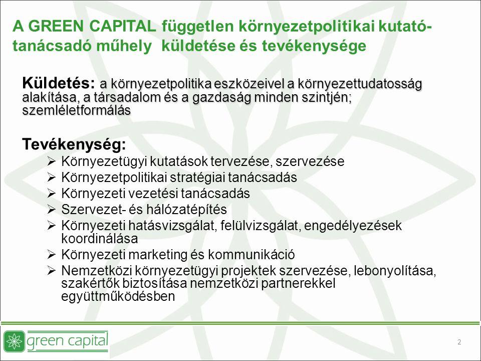 A GREEN CAPITAL független környezetpolitikai kutató- tanácsadó műhely küldetése és tevékenysége a környezetpolitika eszközeivel a környezettudatosság alakítása, a társadalom és a gazdaság minden szintjén; szemléletformálás Küldetés: a környezetpolitika eszközeivel a környezettudatosság alakítása, a társadalom és a gazdaság minden szintjén; szemléletformálás Tevékenység:  Környezetügyi kutatások tervezése, szervezése  Környezetpolitikai stratégiai tanácsadás  Környezeti vezetési tanácsadás  Szervezet- és hálózatépítés  Környezeti hatásvizsgálat, felülvizsgálat, engedélyezések koordinálása  Környezeti marketing és kommunikáció  Nemzetközi környezetügyi projektek szervezése, lebonyolítása, szakértők biztosítása nemzetközi partnerekkel együttműködésben 2