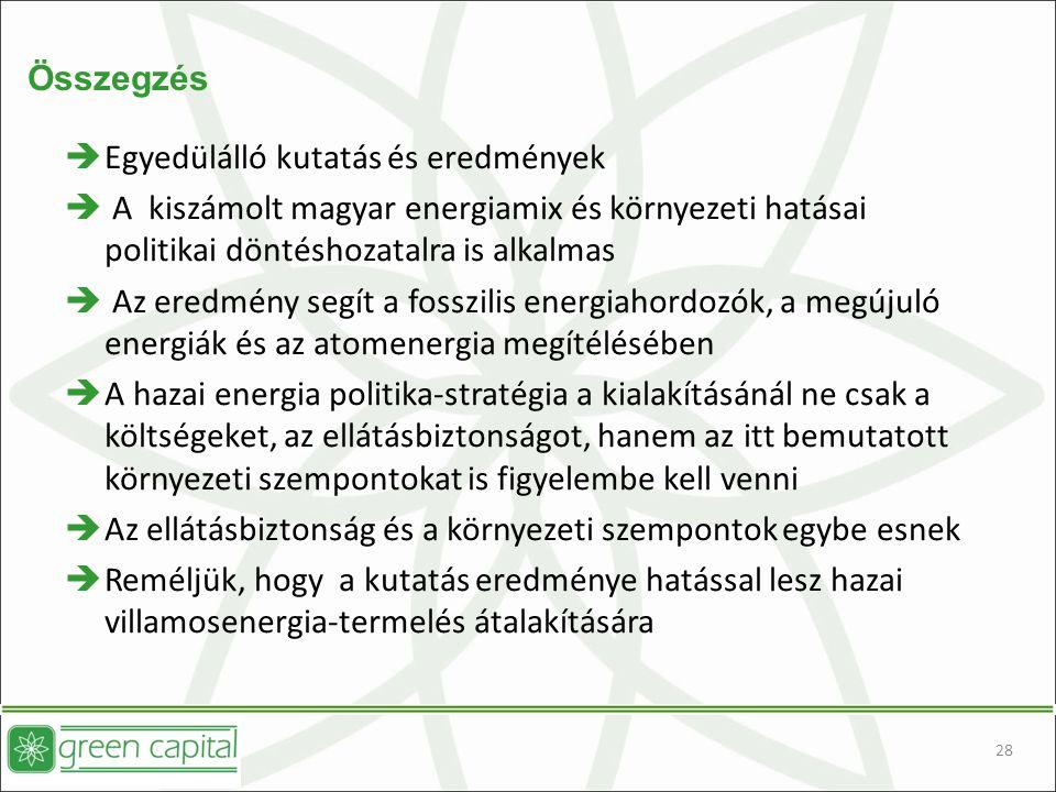 28 Összegzés  Egyedülálló kutatás és eredmények  A kiszámolt magyar energiamix és környezeti hatásai politikai döntéshozatalra is alkalmas  Az eredmény segít a fosszilis energiahordozók, a megújuló energiák és az atomenergia megítélésében  A hazai energia politika-stratégia a kialakításánál ne csak a költségeket, az ellátásbiztonságot, hanem az itt bemutatott környezeti szempontokat is figyelembe kell venni  Az ellátásbiztonság és a környezeti szempontok egybe esnek  Reméljük, hogy a kutatás eredménye hatással lesz hazai villamosenergia-termelés átalakítására