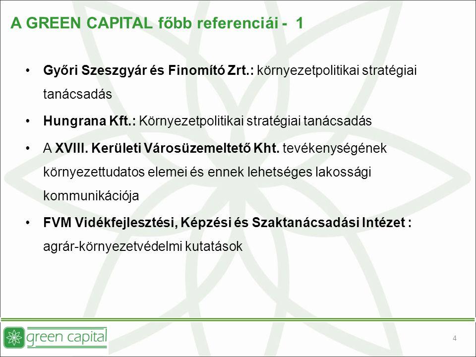 4 A GREEN CAPITAL főbb referenciái - 1 Győri Szeszgyár és Finomító Zrt.: környezetpolitikai stratégiai tanácsadás Hungrana Kft.: Környezetpolitikai stratégiai tanácsadás A XVIII.