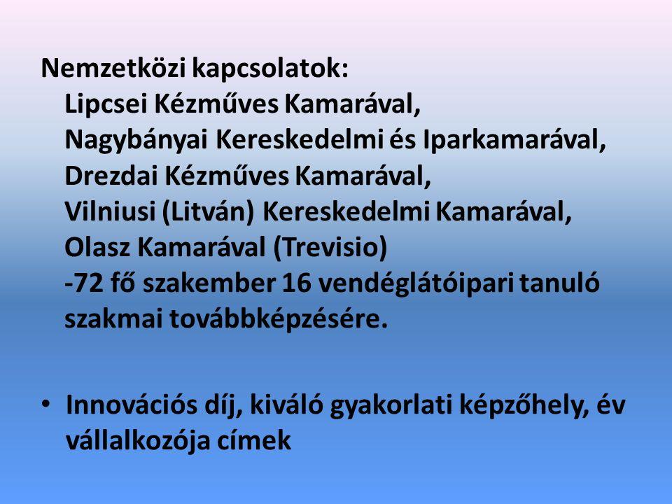Nemzetközi kapcsolatok: Lipcsei Kézműves Kamarával, Nagybányai Kereskedelmi és Iparkamarával, Drezdai Kézműves Kamarával, Vilniusi (Litván) Kereskedelmi Kamarával, Olasz Kamarával (Trevisio) -72 fő szakember 16 vendéglátóipari tanuló szakmai továbbképzésére.