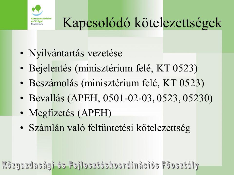 Kapcsolódó kötelezettségek Nyilvántartás vezetése Bejelentés (minisztérium felé, KT 0523) Beszámolás (minisztérium felé, KT 0523) Bevallás (APEH, 0501-02-03, 0523, 05230) Megfizetés (APEH) Számlán való feltüntetési kötelezettség