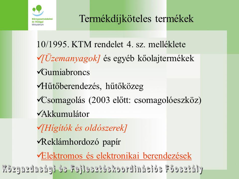 Termékdíjköteles termékek 10/1995. KTM rendelet 4.