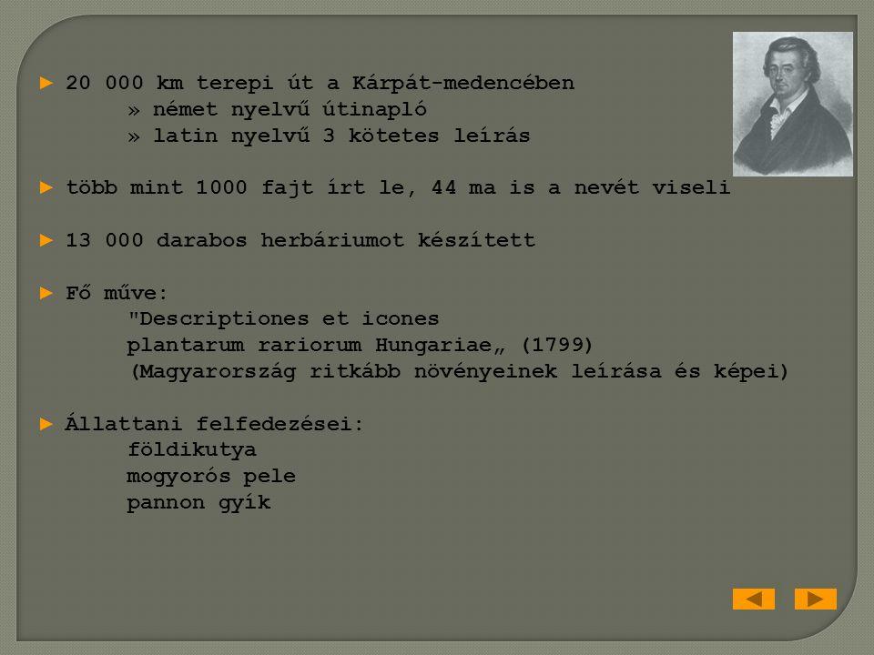 Kitaibel Pál 1757-1817 magyar orvos, botanikus, kémikus Linné követője ► 150 ásványvíz analízise Hygrographia Hungarica (> 700 oldal) ► a tellúr felfedezése a Börzsönyben ► a pesti egyetem botanikus kertjének (Füvészkert) igazgatója