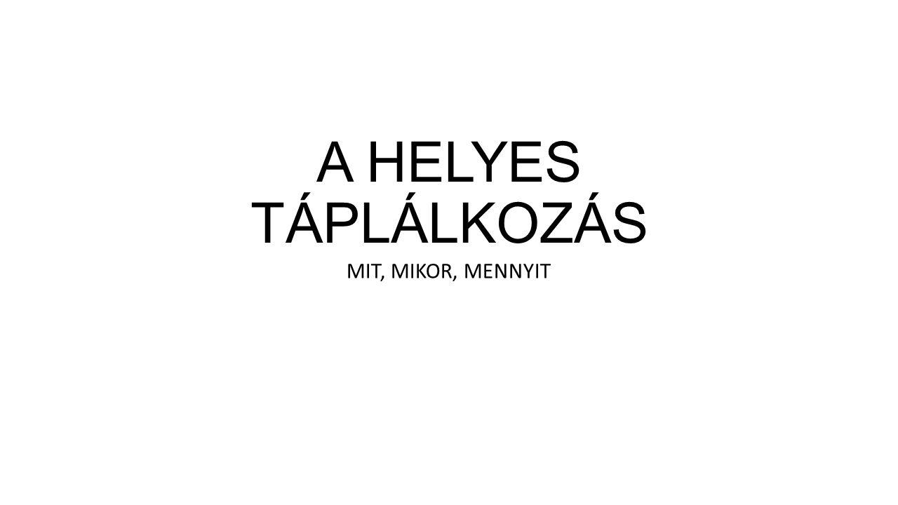 A HELYES TÁPLÁLKOZÁS MIT, MIKOR, MENNYIT