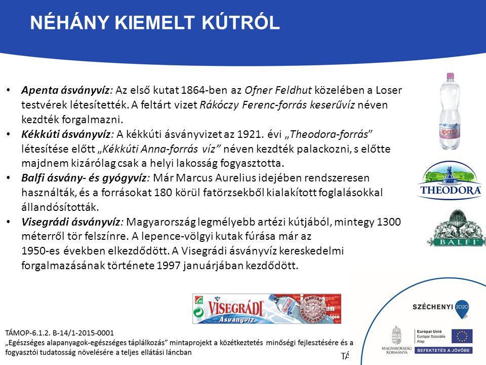 NÉHÁNY KIEMELT KÚTRÓL Apenta ásványvíz: Az első kutat 1864-ben az Ofner Feldhut közelében a Loser testvérek létesítették.