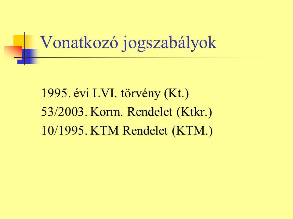 Vonatkozó jogszabályok 1995. évi LVI. törvény (Kt.) 53/2003.