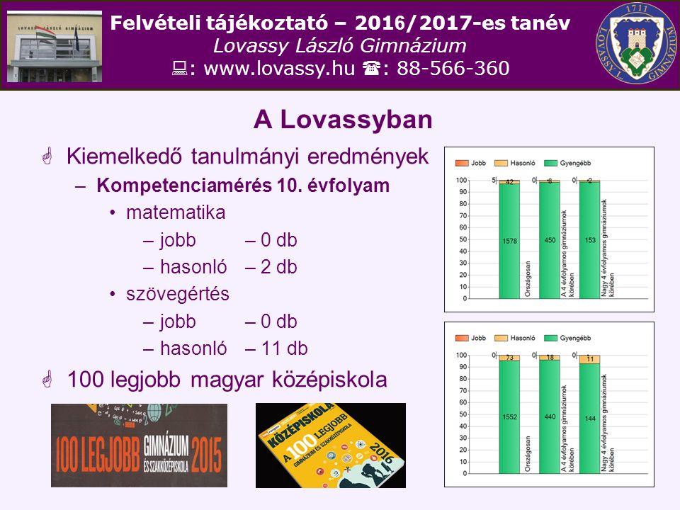 Felvételi tájékoztató – 201 6 /2017-es tanév Lovassy László Gimnázium  : www.lovassy.hu  : 88-566-360 A Lovassyban  Kiemelkedő tanulmányi eredménye