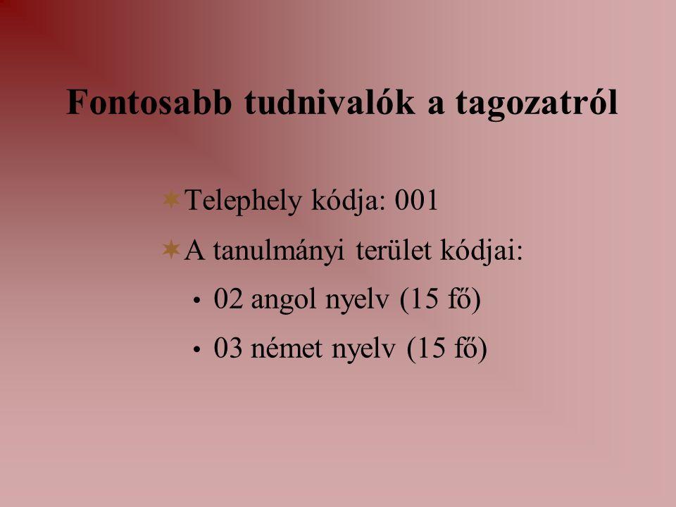 Fontosabb tudnivalók a tagozatról  Telephely kódja: 001  A tanulmányi terület kódjai: 02 angol nyelv (15 fő) 03 német nyelv (15 fő)