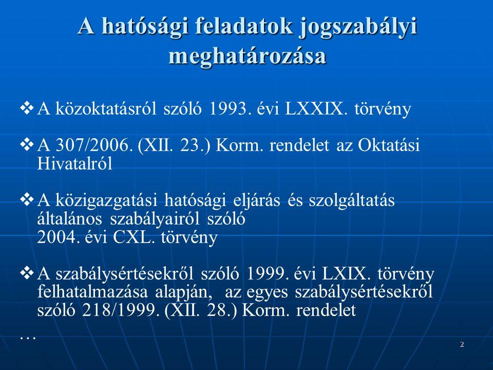 2 A hatósági feladatok jogszabályi meghatározása   A közoktatásról szóló 1993.