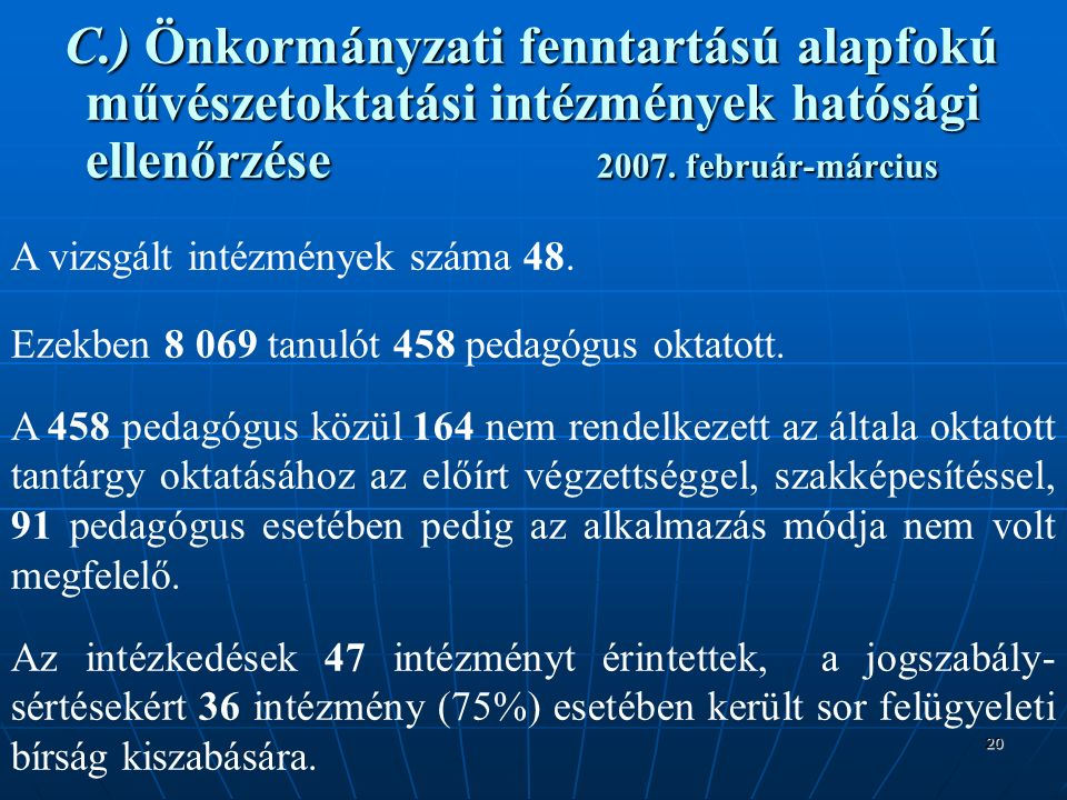 20 C.) Önkormányzati fenntartású alapfokú művészetoktatási intézmények hatósági ellenőrzése 2007.