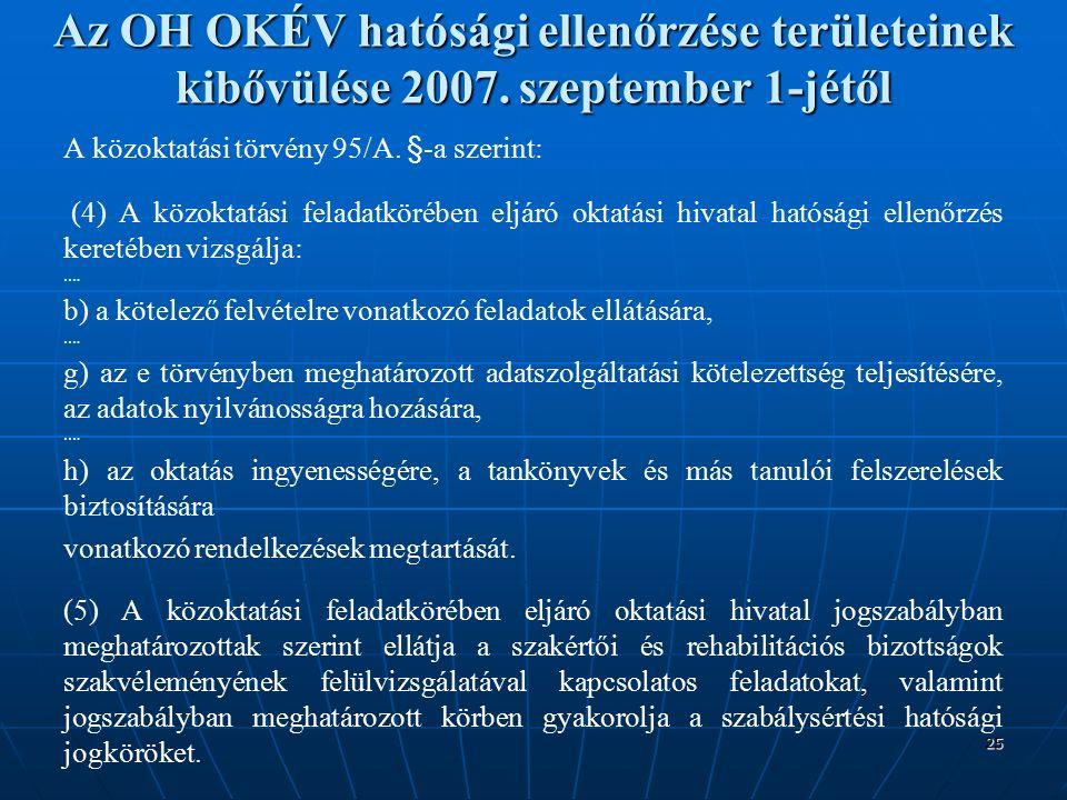 25 Az OH OKÉV hatósági ellenőrzése területeinek kibővülése 2007.