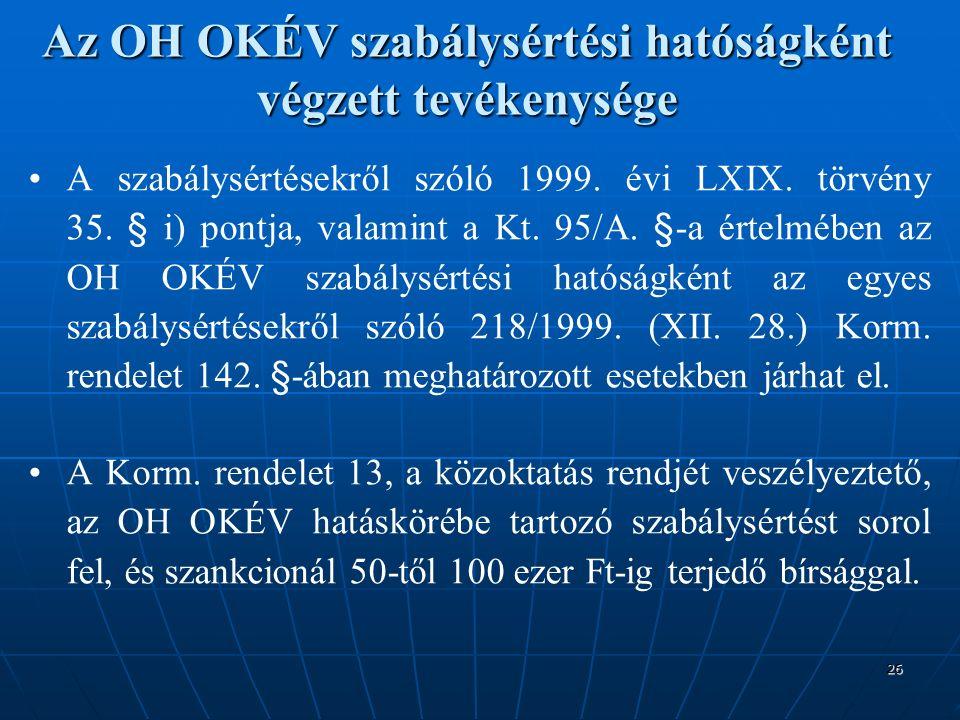 26 Az OH OKÉV szabálysértési hatóságként végzett tevékenysége A szabálysértésekről szóló 1999.