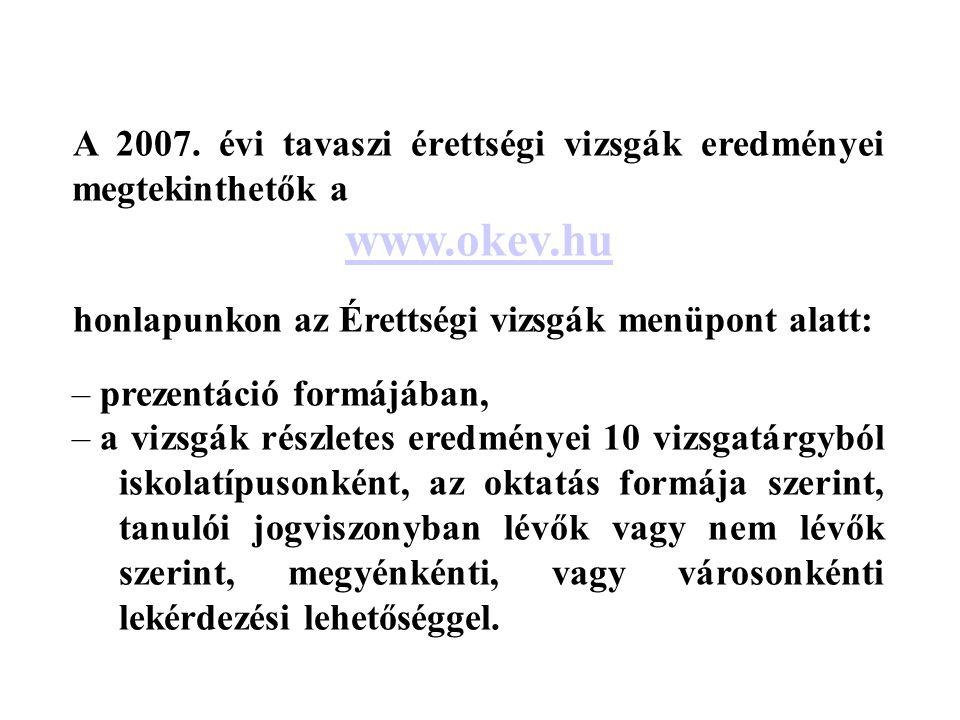 A 2007. évi tavaszi érettségi vizsgák eredményei megtekinthetők a www.okev.hu honlapunkon az Érettségi vizsgák menüpont alatt: – prezentáció formájába