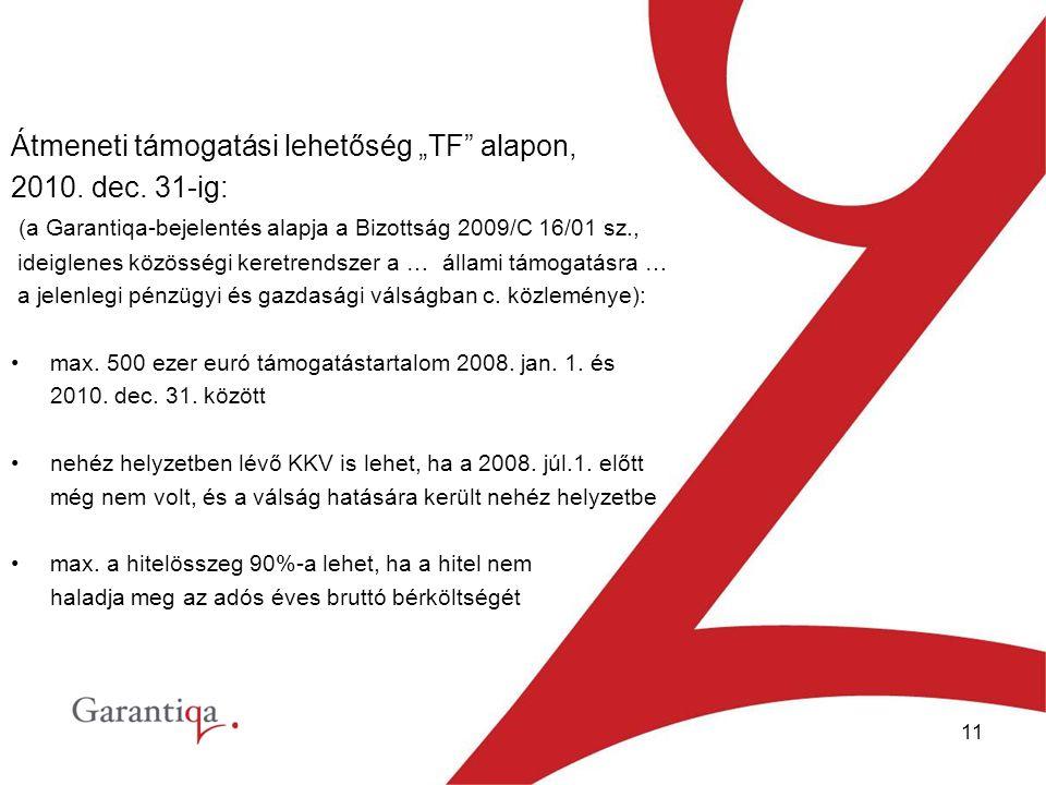 """11 Átmeneti támogatási lehetőség """"TF alapon, 2010."""