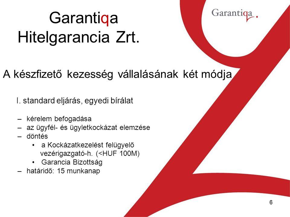 6 Garantiqa Hitelgarancia Zrt. A készfizető kezesség vállalásának két módja I.