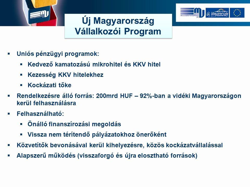  Uniós pénzügyi programok:  Kedvező kamatozású mikrohitel és KKV hitel  Kezesség KKV hitelekhez  Kockázati tőke  Rendelkezésre álló forrás: 200mrd HUF – 92%-ban a vidéki Magyarországon kerül felhasználásra  Felhasználható:  Önálló finanszírozási megoldás  Vissza nem térítendő pályázatokhoz önerőként  Közvetítők bevonásával kerül kihelyezésre, közös kockázatvállalással  Alapszerű működés (visszaforgó és újra elosztható források) Új Magyarország Vállalkozói Program