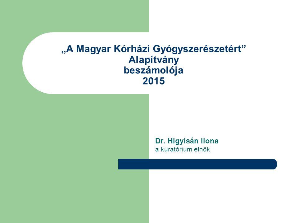 """""""A Magyar Kórházi Gyógyszerészetért Alapítvány beszámolója 2015 Dr."""