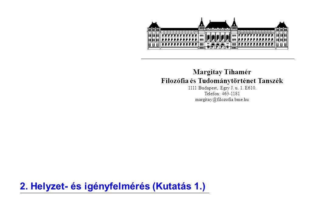 Margitay Tihamér Filozófia és Tudománytörténet Tanszék 1111 Budapest, Egry J. u. 1. E610. Telefon: 463-1181 margitay@filozofia.bme.hu 2. Helyzet- és i