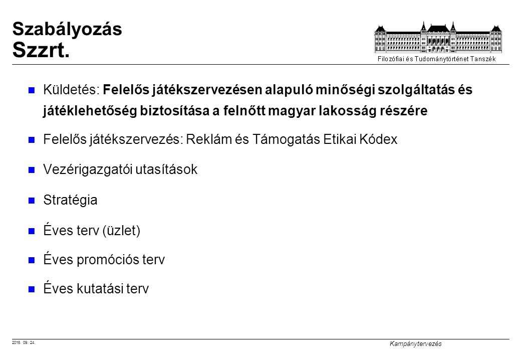2016. 09. 24. Kampánytervezés Szabályozás Szzrt.