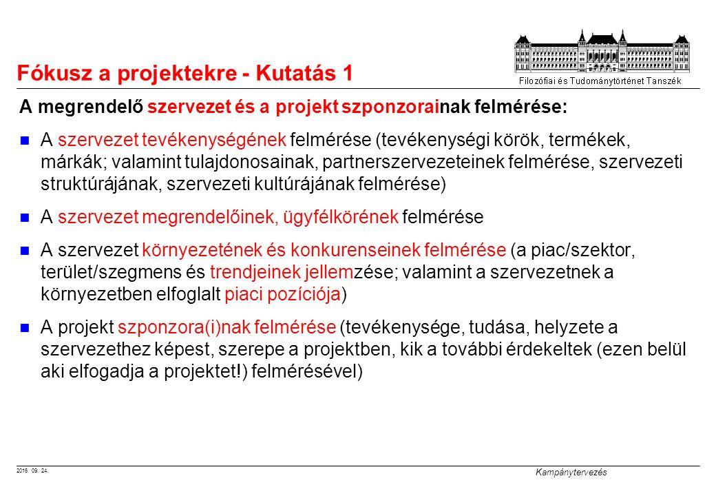 2016. 09. 24. Kampánytervezés Fókusz a projektekre - Kutatás 1 A megrendelő szervezet és a projekt szponzorainak felmérése: A szervezet tevékenységéne