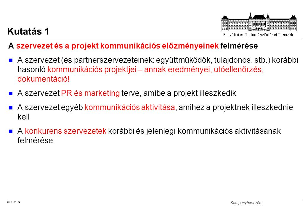 2016. 09. 24. Kampánytervezés Kutatás 1 A szervezet és a projekt kommunikációs előzményeinek felmérése A szervezet (és partnerszervezeteinek: együttmű