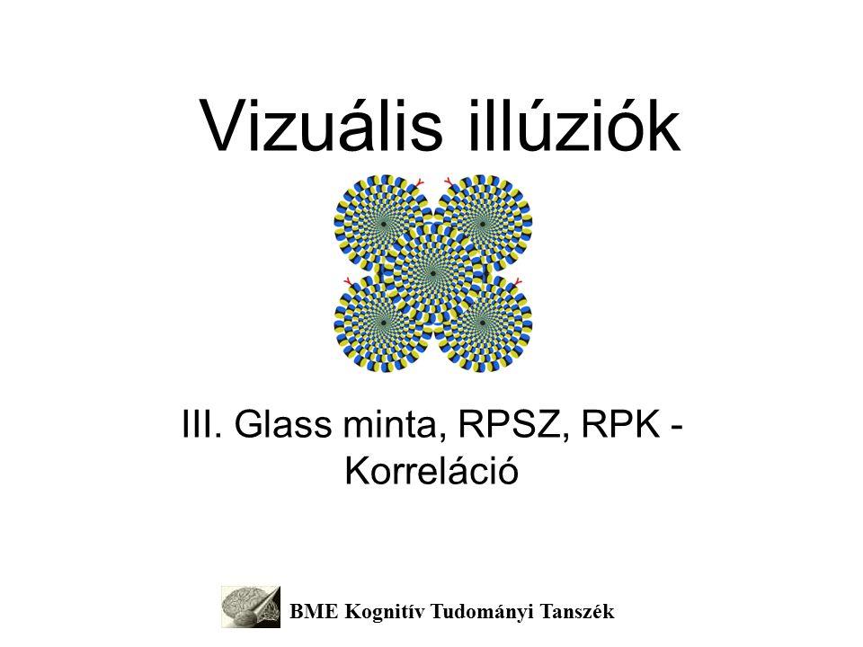Korreláció – RPG, RPSz, RPK A látás a környezet változásait jelzi (adaptáció – utóhatások) A retina a környezet változásait kivonatolja (gátlás – kontraszt illúziók; következő órán részletesen, de a bevezető órán volt rá példa) A kéreg mintát keres a változásokban (korreláció – RPSz, RPG, RPK)