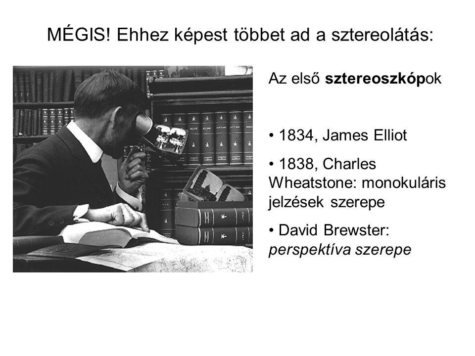 Az első sztereoszkópok 1834, James Elliot 1838, Charles Wheatstone: monokuláris jelzések szerepe David Brewster: perspektíva szerepe MÉGIS.