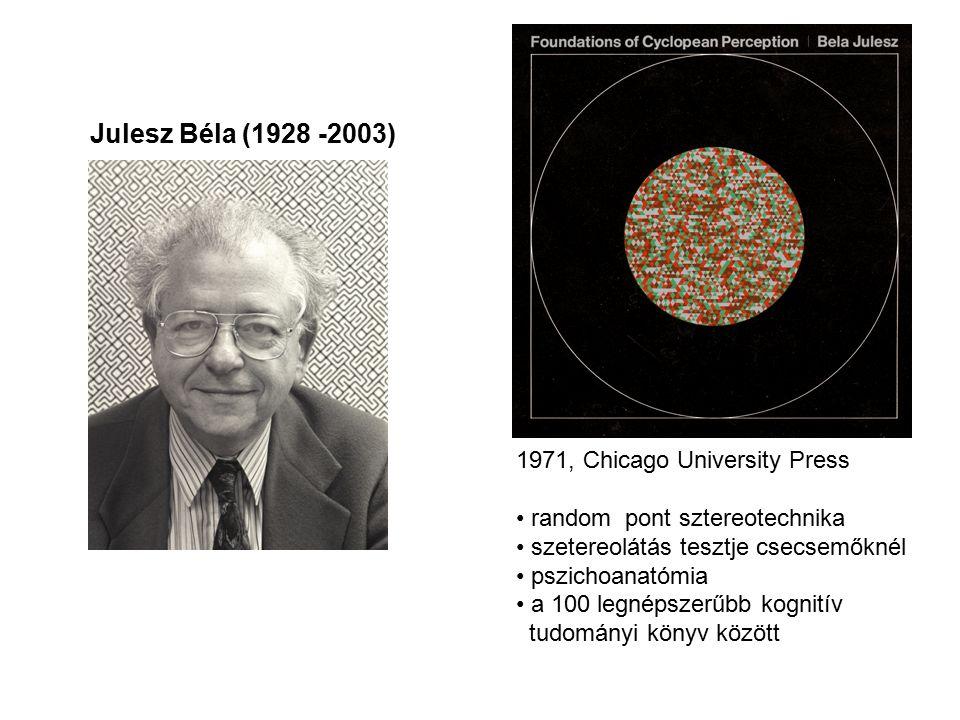 Julesz Béla (1928 -2003) 1971, Chicago University Press random pont sztereotechnika szetereolátás tesztje csecsemőknél pszichoanatómia a 100 legnépszerűbb kognitív tudományi könyv között