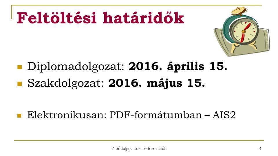Záródolgozatok - információk 4 Feltöltési határidők Diplomadolgozat: 2016.