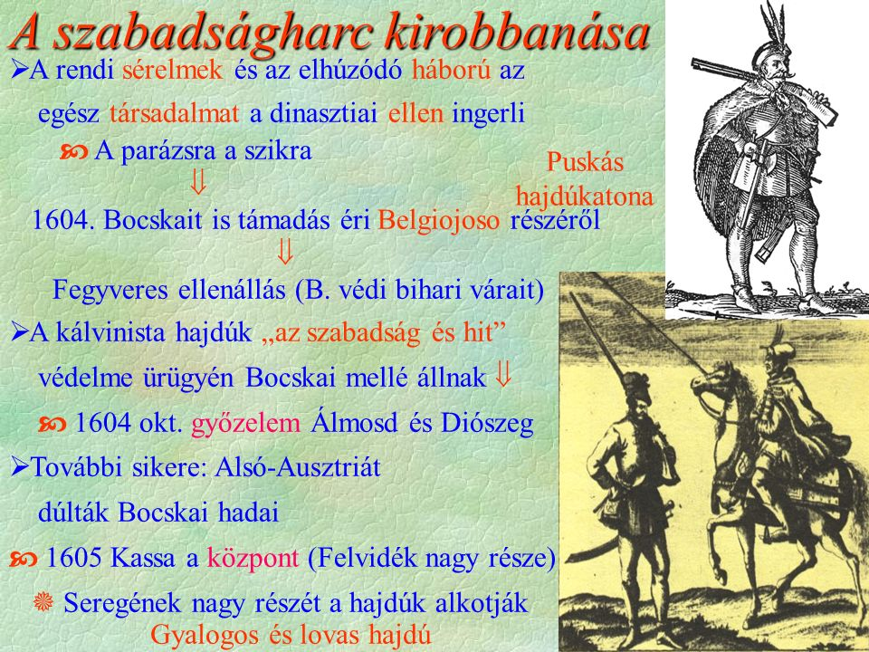 Puskás hajdúkatona Gyalogos és lovas hajdú A szabadságharc kirobbanása  A rendi sérelmek és az elhúzódó háború az egész társadalmat a dinasztiai ellen ingerli  A parázsra a szikra  1604.
