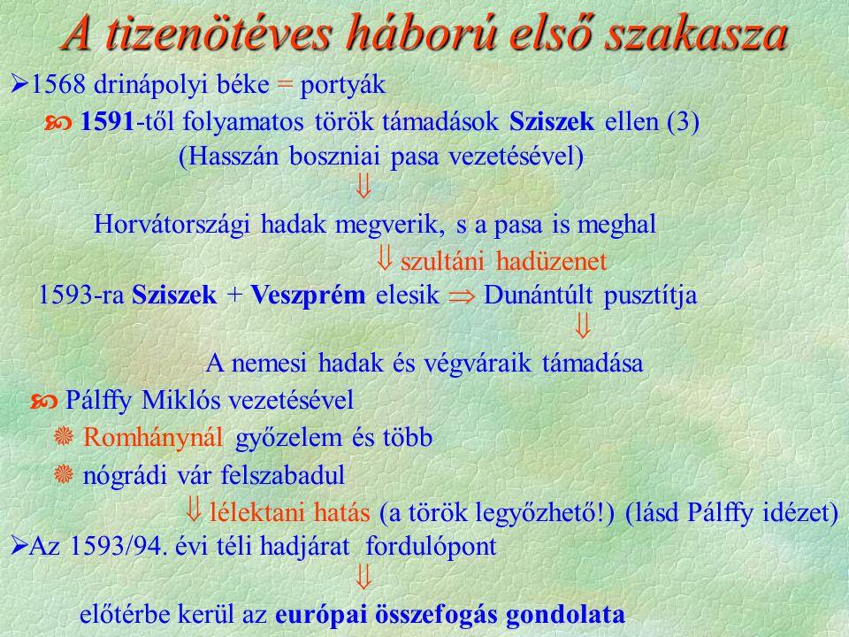  1568 drinápolyi béke = portyák  1591-től folyamatos török támadások Sziszek ellen (3) (Hasszán boszniai pasa vezetésével)  Horvátországi hadak megverik, s a pasa is meghal  szultáni hadüzenet 1593-ra Sziszek + Veszprém elesik  Dunántúlt pusztítja  A nemesi hadak és végváraik támadása  Pálffy Miklós vezetésével  Romhánynál győzelem és több  nógrádi vár felszabadul  lélektani hatás (a török legyőzhető!) (lásd Pálffy idézet)  Az 1593/94.
