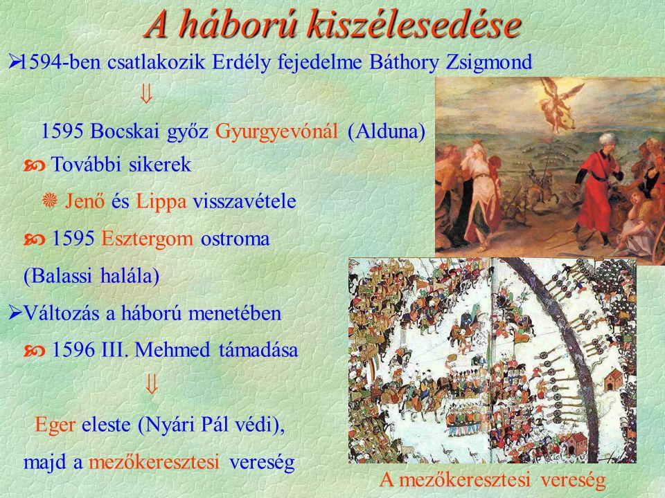 A mezőkeresztesi vereség  További sikerek  Jenő és Lippa visszavétele  1595 Esztergom ostroma (Balassi halála)  Változás a háború menetében  1596 III.