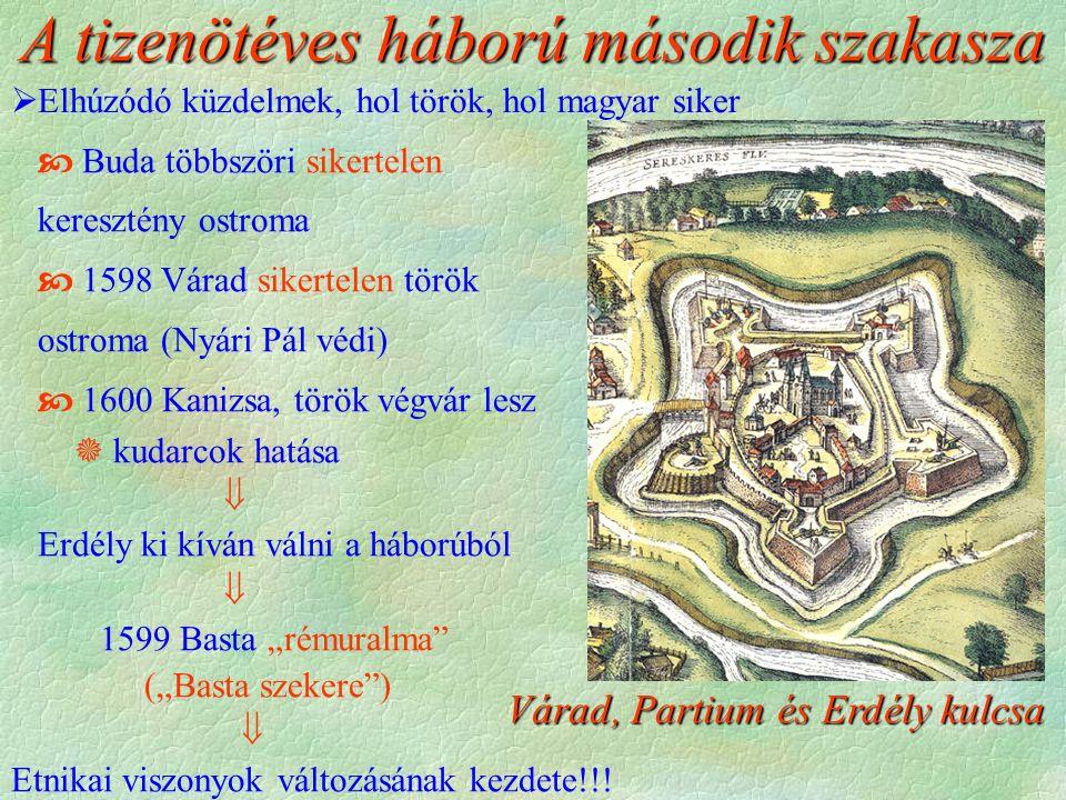 Várad, Partium és Erdély kulcsa A tizenötéves háború második szakasza  Buda többszöri sikertelen keresztény ostroma  1598 Várad sikertelen török ost