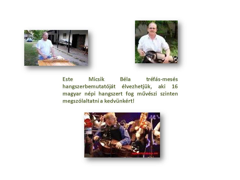 Este Micsik Béla tréfás-mesés hangszerbemutatóját élvezhetjük, aki 16 magyar népi hangszert fog művészi szinten megszólaltatni a kedvünkért!