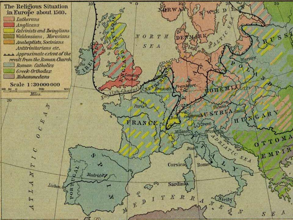 IV. Rekatolizáció Jezsuita rend – 1540 – Loyolai Szent Ignác Tridenti zsinat – 1545 – 1563 – részben sikeres – Franciaország, Csehország, Ausztria, Ma