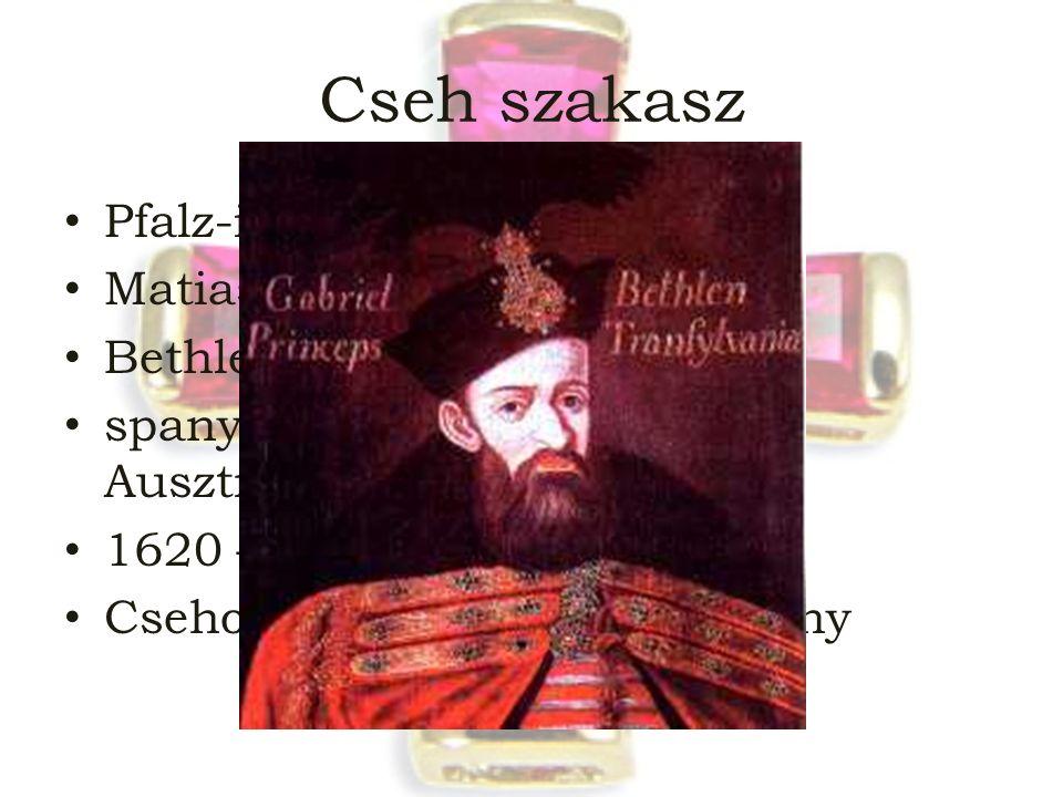 Cseh szakasz Pfalz-i Frigyes Matias Thurn Bethlen Gábor spanyol és pápai támogatás Ausztriának 1620 – fehér-hegyi csata Csehország  örökös tartomány