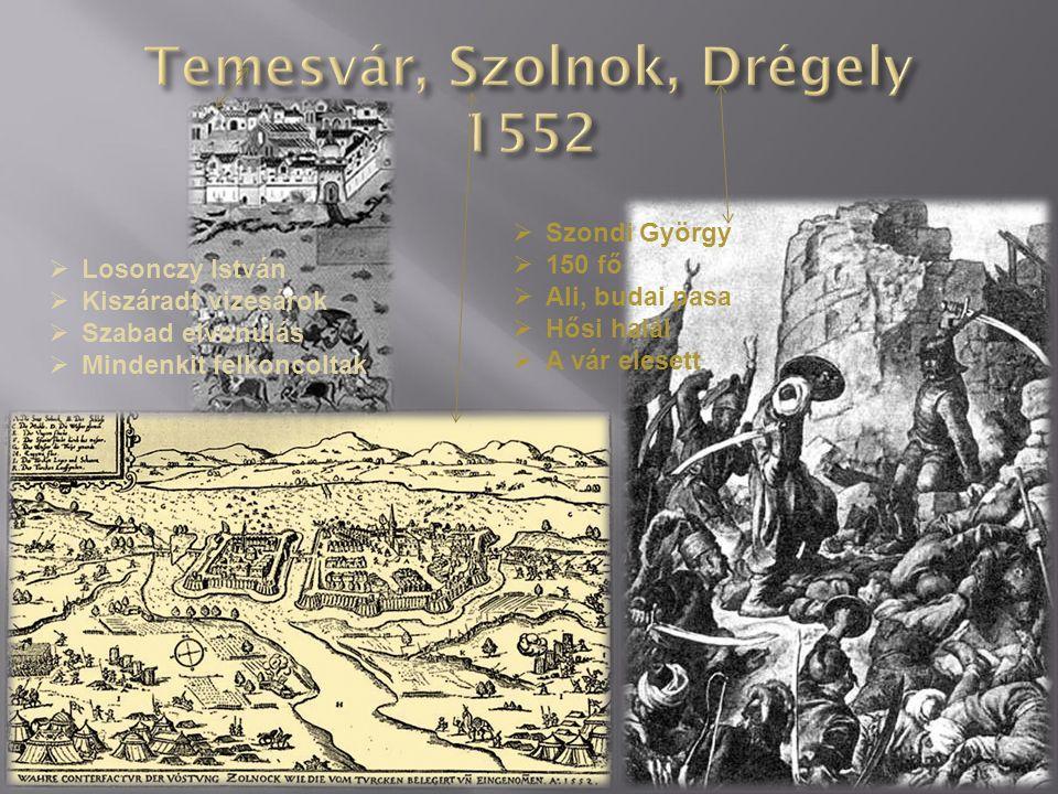  1552  Dobó István  Bornemissza Gergely  Ali pasa és Ahmed pasa  - kb.2000 magyar védő kb.