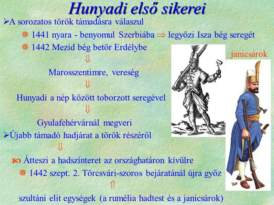  A sorozatos török támadásra válaszul  1441 nyara - benyomul Szerbiába  legyőzi Isza bég seregét  1442 Mezid bég betör Erdélybe  Marosszentimre,