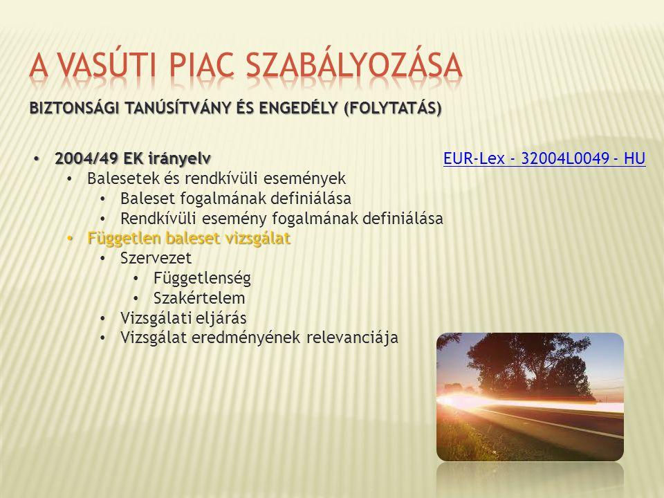 BIZTONSÁGI TANÚSÍTVÁNY ÉS ENGEDÉLY (FOLYTATÁS) 2004/49 EK irányelv 2004/49 EK irányelv Balesetek és rendkívüli események Baleset fogalmának definiálás