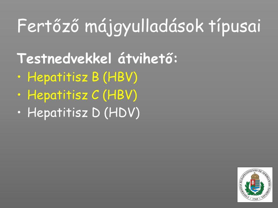 Fertőző májgyulladások típusai Testnedvekkel átvihető: Hepatitisz B (HBV) Hepatitisz C (HBV) Hepatitisz D (HDV)